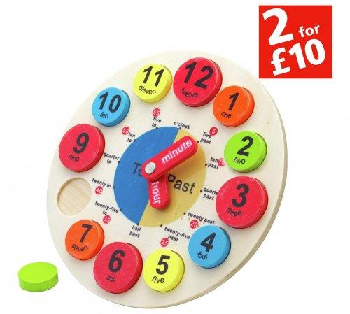 Chad Valley PlaySmart Wooden Clock @ Argos £3.99