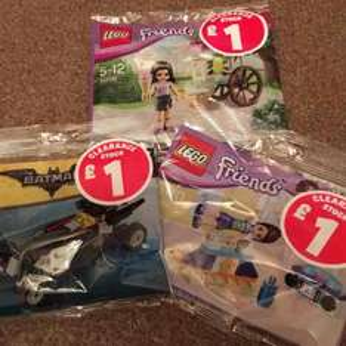 Lego poly bags including Mini Batmobile £1 each at Smyths Toys.