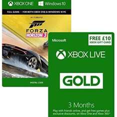 Forza Horizon 3 Ultimate (digital Xbox Play Anywhere), 3 months Xbox Live, £10 Xbox Credit - Amazon Prime deal £54.99