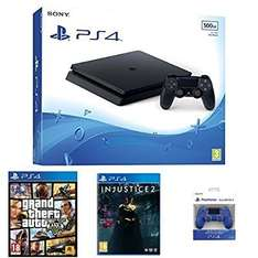 Sony PlayStation 4 (500GB) + GTA V + Injustice 2 + 2nd DualShock 4 Controller £179.99 @ Amazon