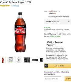 Coca Cola Zero 1p @Amazon Pantry (prime members) + £2.99 delivery or buy 4 eligible items for free delivery