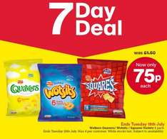 Iceland 7 Day Deal Quavers, Wotsits AND Squares 6pk 75p