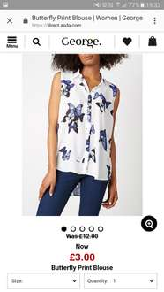 George Butterfly Print Blouse £3 @ George Asda