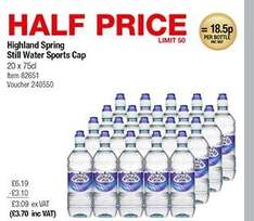 Highland Spring 20 x 750ml Sports bottles - From Monday - £3.70 @ Costco
