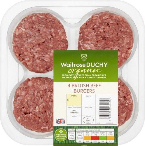 Waitrose Duchy Organic 4 British Beef Burgers (0.34kg) was £4.25 now 2 for £5.00 @ Waitrose