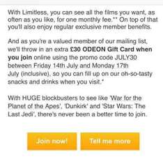 £30 Gift Card with Odeon limitless £17.99 a month for 12 months