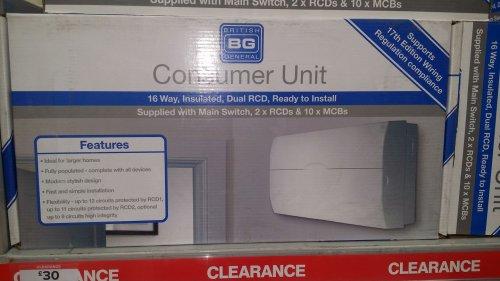 Electrical consumer unit 16 way, 30 pounds B&Q (Trafford park)