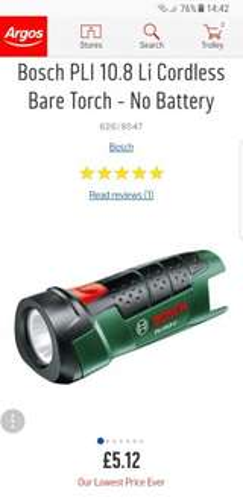 Bosch PLI 10.8 Li Cordless Bare Torch - No Battery £5.12 @ Argos