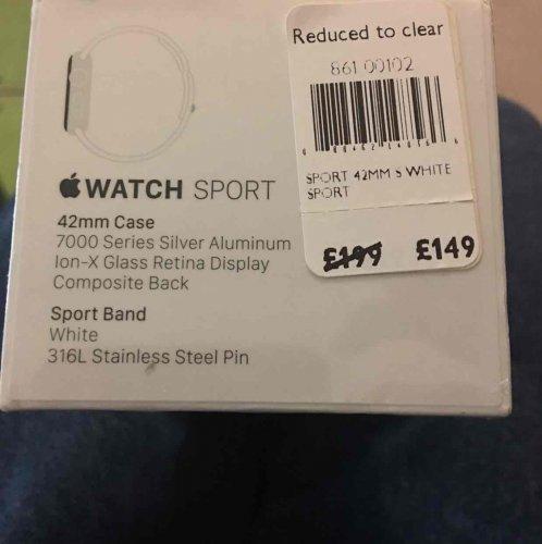 Apple Watch 42mm sport - £149 instore @ John Lewis Kingston