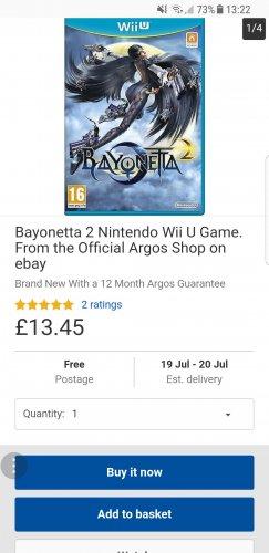 Bayonetta 2 Nintendo Wii U Game £13.45 @ Argos / ebay