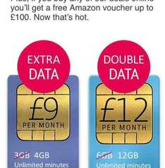 Upcoming BT sim only deals - e.g Unlimited mins, texts and 12gb of data for £12 a month,12 months contract plus an amazon or iTunes gift card for £70 - £144