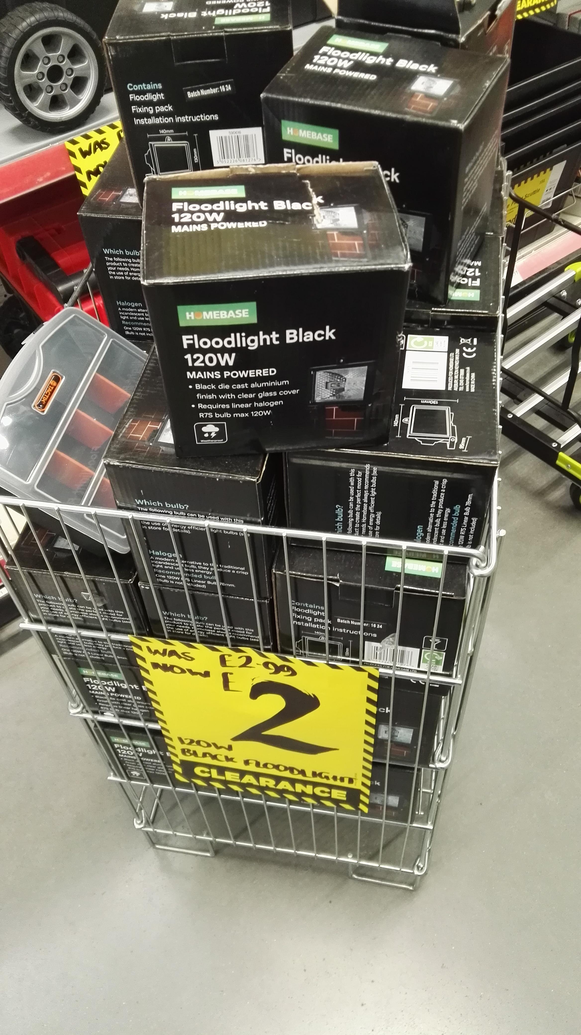 Homebase Mains Powered 120w Black Floodlight £2