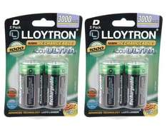 4x Lloytron LR20 D-cell 3000mAh Ni-MH rechargeable batteries: 4-pack lower than price of 2-pack = £6.29 delivered @ 7DayShop