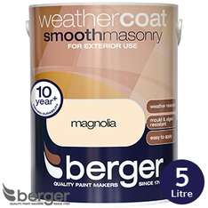 Masonry Smooth 5litre Berger, £12.50 for colour at home bargains instore.