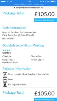Thorpe Park. 2 days in themepark, 1 night hotel stay plus breakfast - £105 PLUS Travelodge Heathrow stay with 2 Day Tickets £88 in Sept (£44pp)