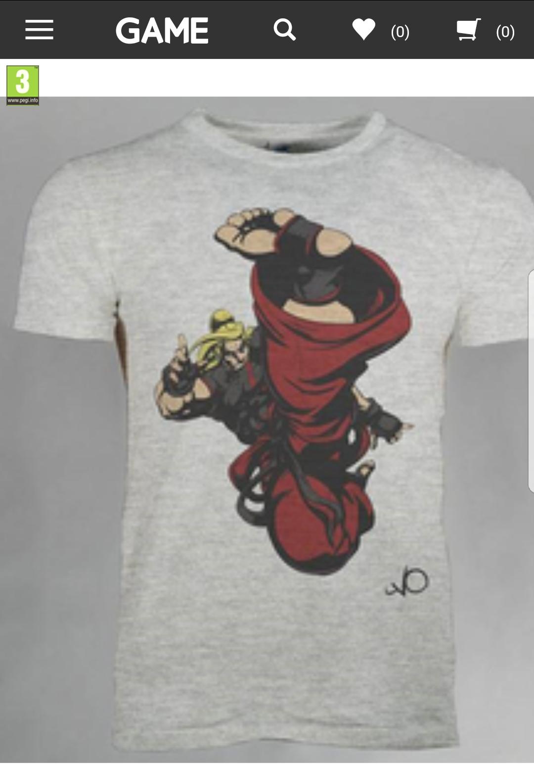 Street Fighter V Ken T-shirt - X-Large (XL + M) @ GAME £3.99
