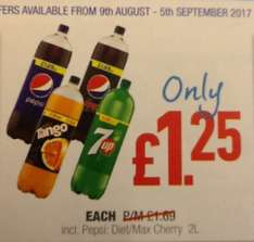 Pepsi, Tango, 7Up all 2litre bottles only £1.25 each @ Lonsdale Stores
