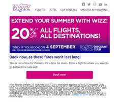 TODAY ONLY: Wizz Air - 20% off All flights, All Destinations!*