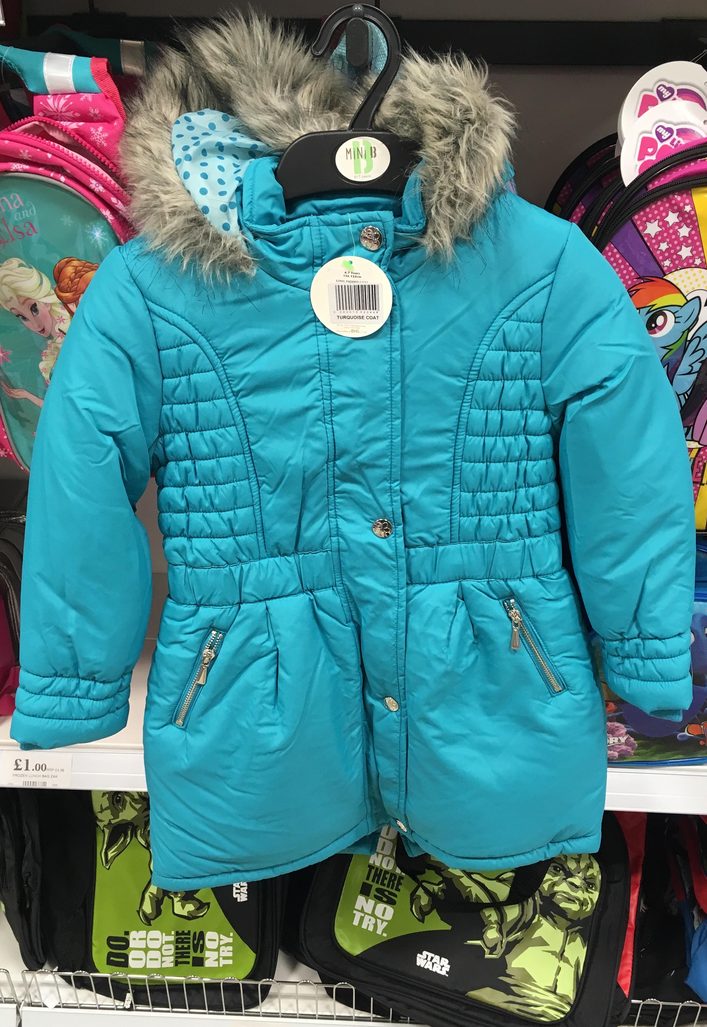 Ex-BHS girls coats (Mini B) £9.99 @ Home Bargains - HotUKDeals