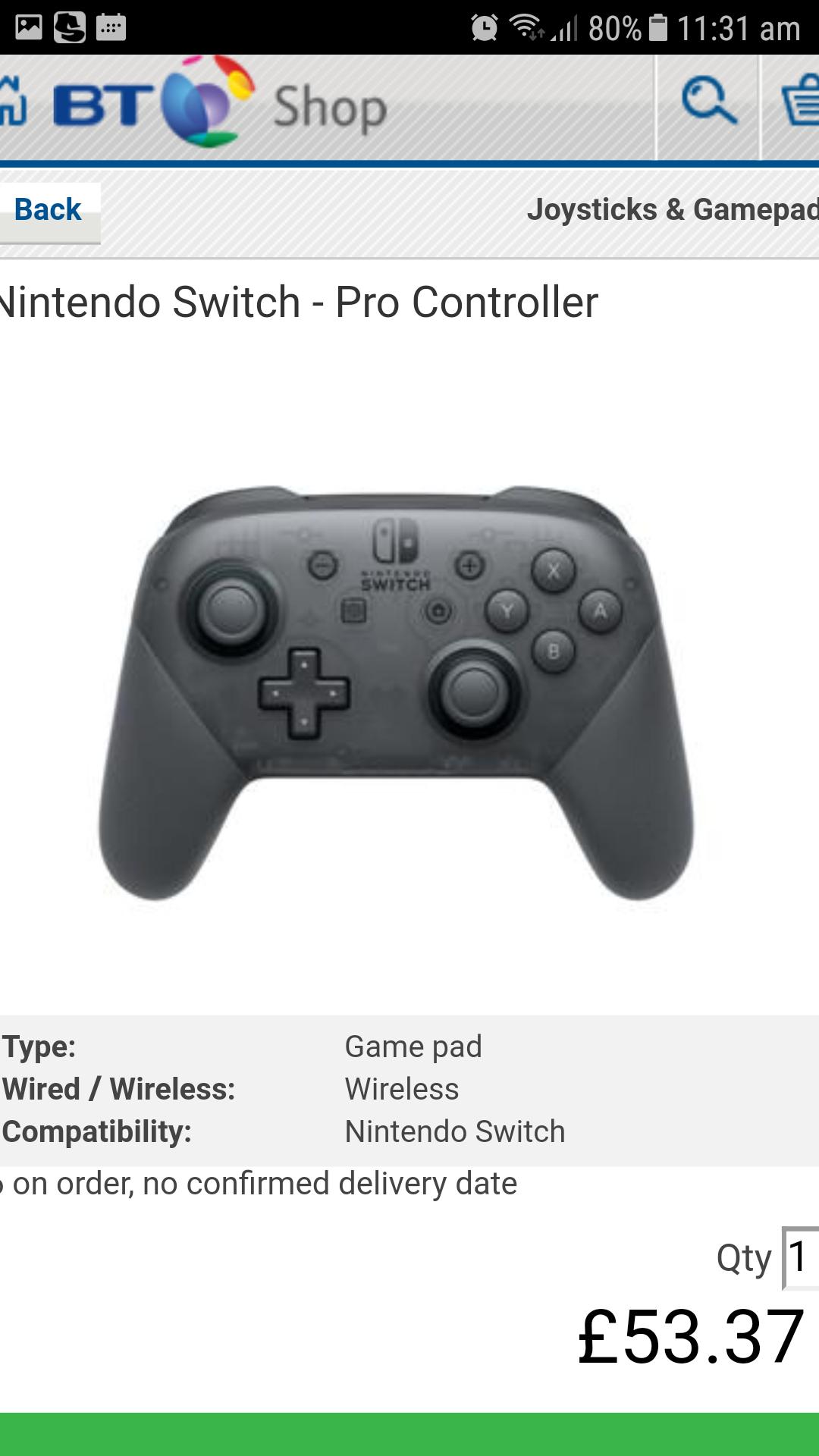 Nintendo Switch Pro Controller ~ Black at BT SHOP (Online) - £53.37 Delivered