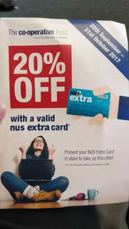 20% off (instead of 10%) with NUS at Midcounties Co-op Gloucester and Cheltenham 20th September - 31st October