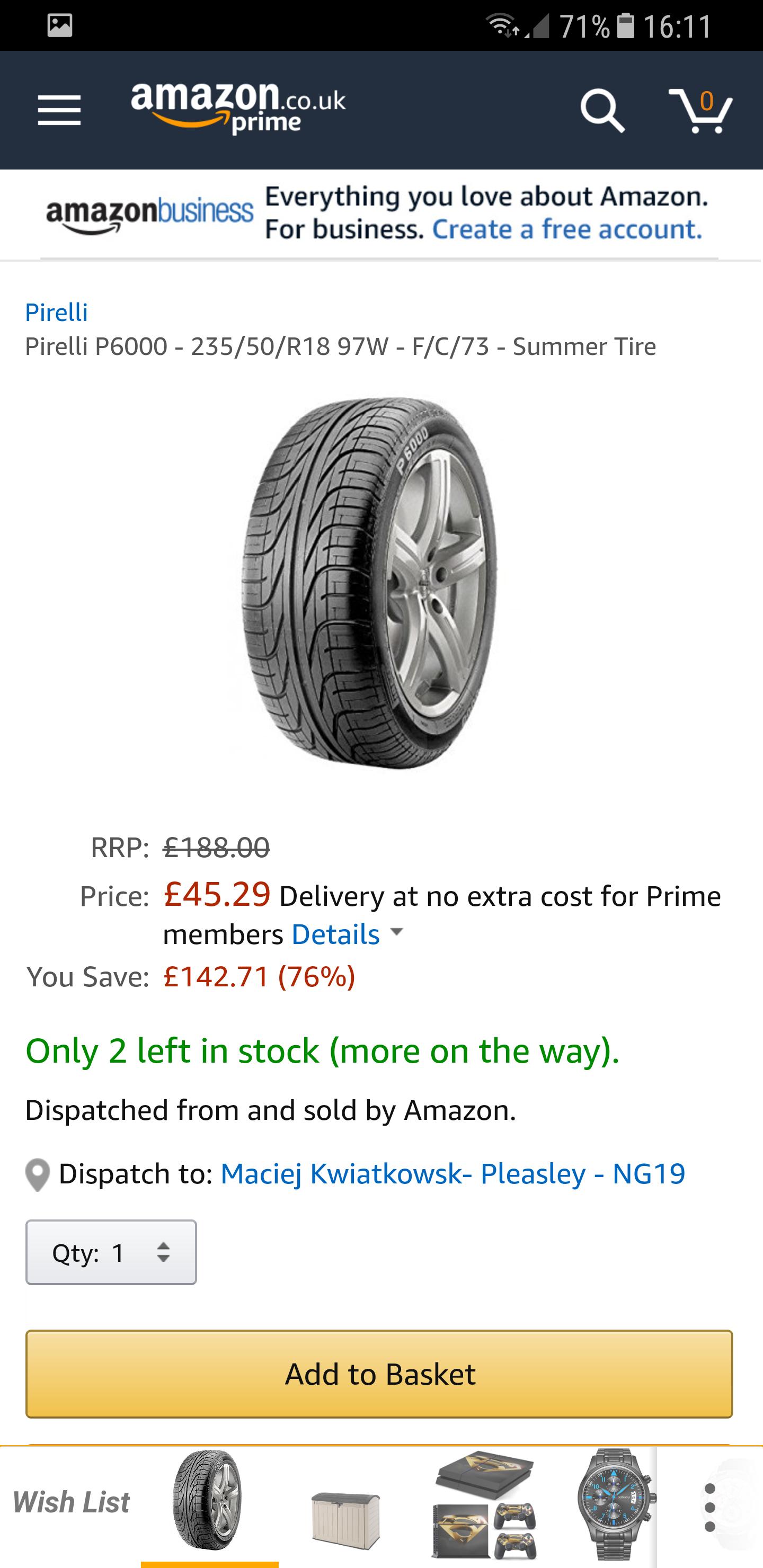 Pirelli P600 235/50/18 F/C/73 at Amazon for £45