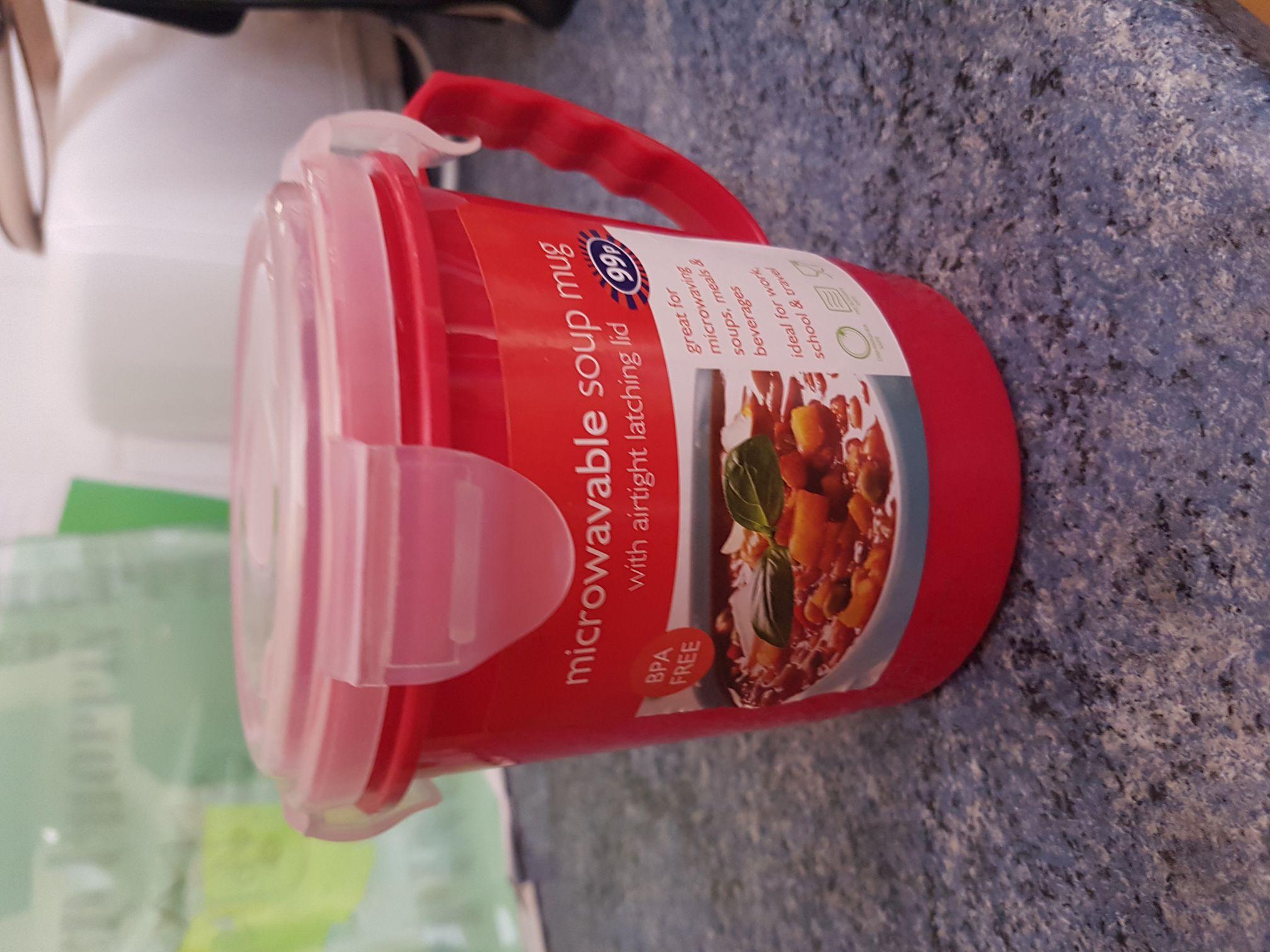 Microwaveable soup mug with airtight lid - 99p @ B&M