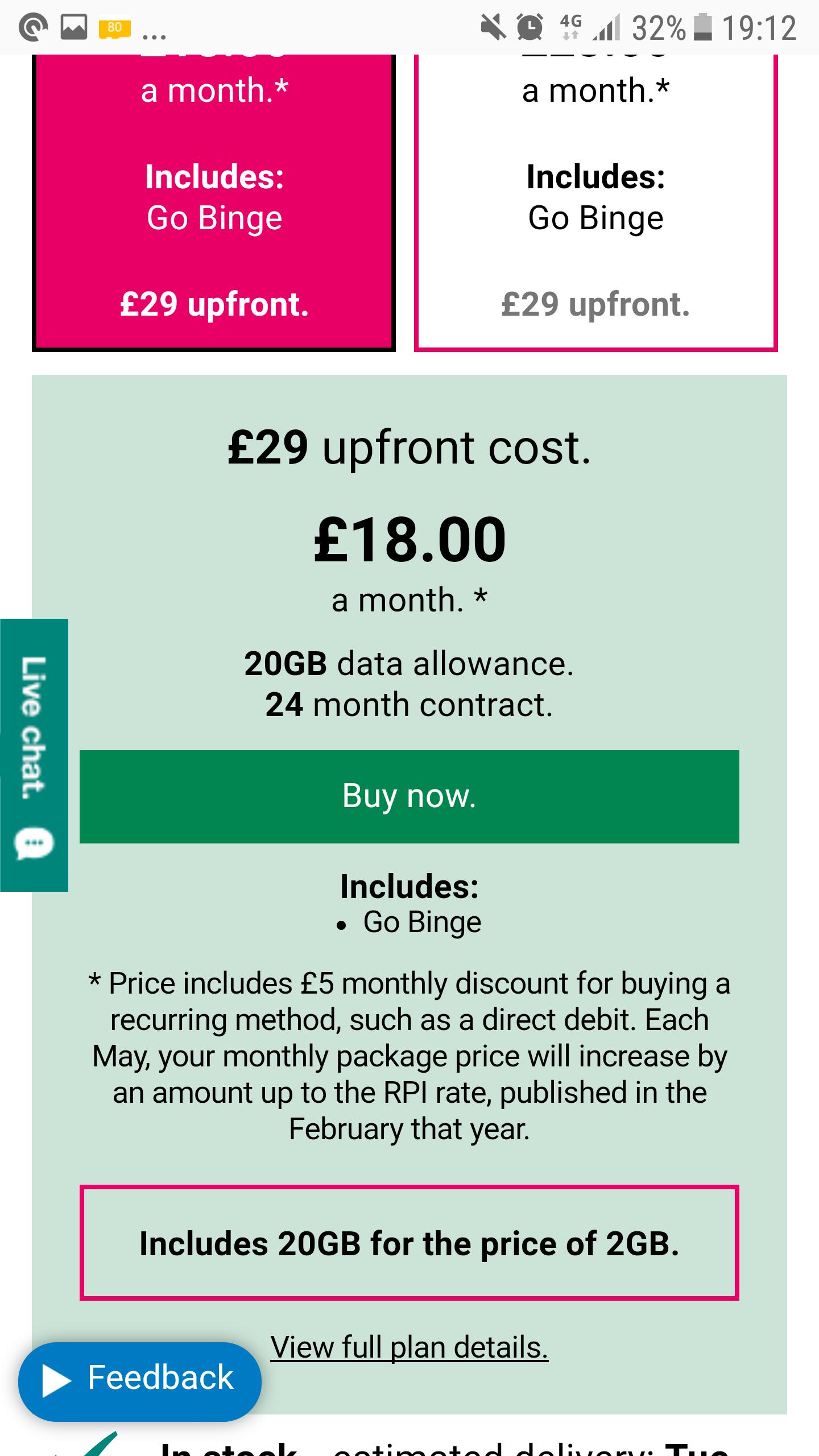 Samsung Galaxy Tab A 10.1 4g on Three 20Gb for the price of 2Gb £461 @ Three