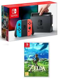 Nintendo Switch Neon Red/Blue or Grey + The Legend of Zelda Breath of the Wild or Mario Kart 8 Deluxe or Splatoon 2 £309.99 @ Game