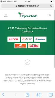 It's back again...£2.50 cashback when purchasing take away through TopCashback. Not much but it's better than nothing.  End monday