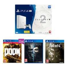 PS4 Pro 1TB Glacier White​ + Destiny 2 Game with Expansion Pass Bundle + DOOM With UAC Pack + Dishonored 2 + Fallout 4 £349.99 @ Game