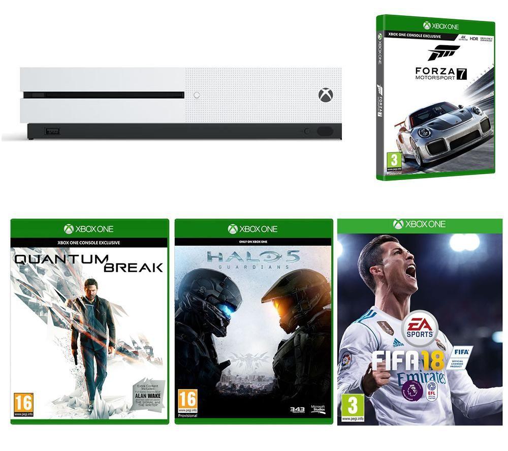 XBox One S 500 GB + Fifa 18 + Forza Motorsport 7 + Quantum Break + Halo 5 £220.00 @ Currys  Online/Instore