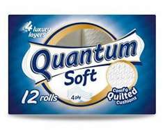 Quantum Soft Quilted Toilet Tissue 4 Ply x 12 rolls - £3 instore at Pound World