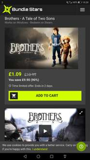 Brothers - A Tale of Two Sons  - 90% Off at Bundlestars - £1.09 - Steam Key