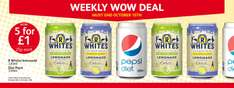R Whites Lemonade (various) 5 330ml cans for a £1 or 25p for one. @ Poundstretcher
