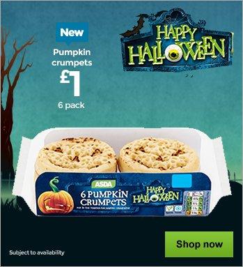 Pumpkin Face Crumpets for Halloween now £1.00 at Asda