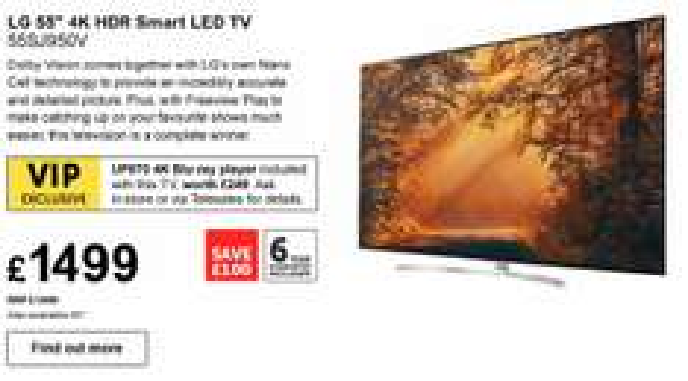LG 55SJ950V 55 inch 4K Ultra HD HDR Smart LED TV - Free LG UP970 4K Bluray player! - £1499 @ RicherSounds