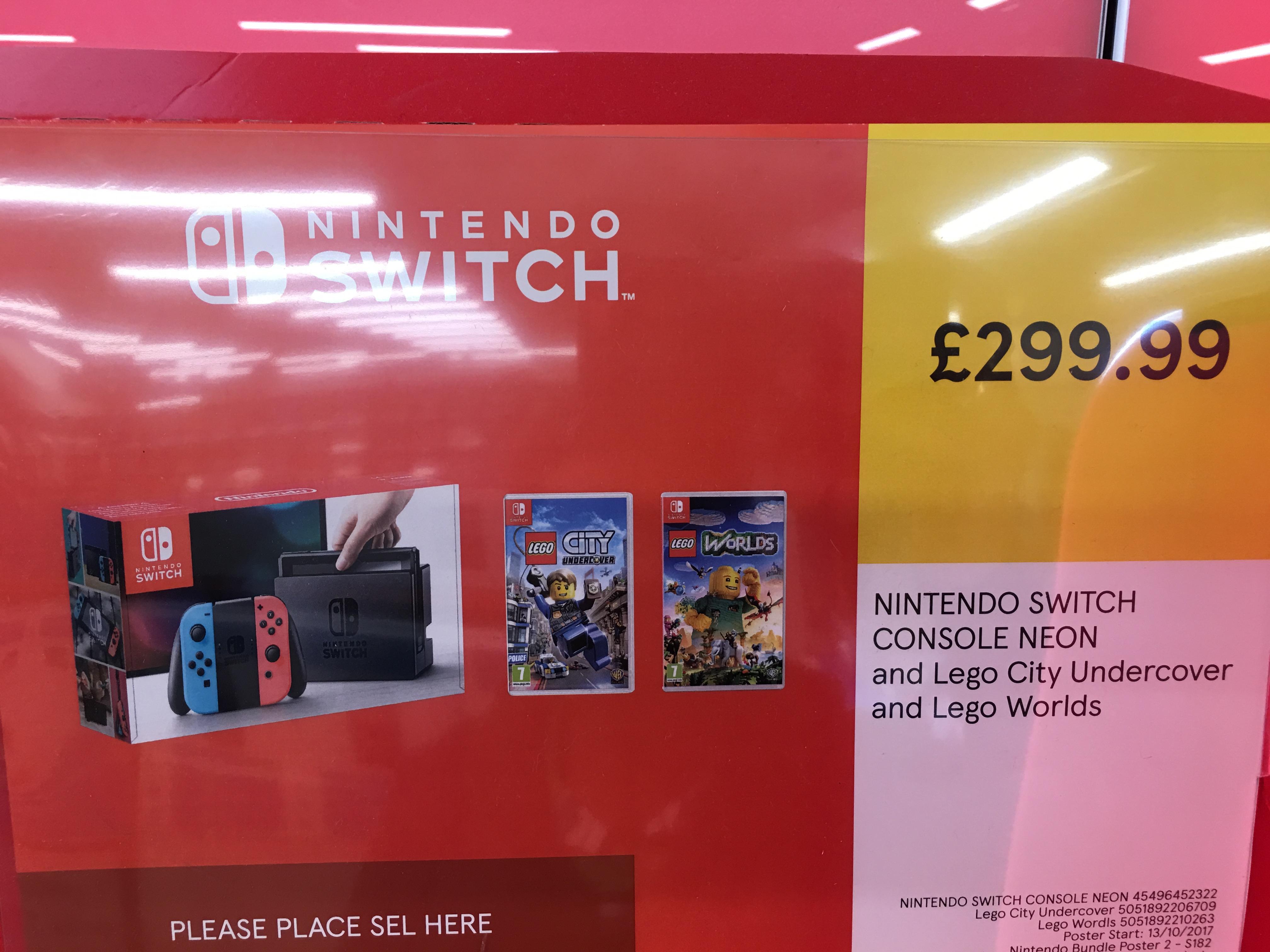 Nintendo Switch Neon / Blue Console + Lego City Undercover + Lego Worlds £299.99 @ Tesco