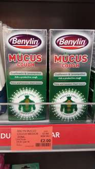 BENYLIN MUCUS COUGH SYRUP HUGE 300ML BOTTLE. WAS £7.99 NOW ONLY £2.00 AT THE CO-OP