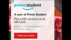 AMAZON £60 gift card and 1 Year free Student Prime when you open a HSBC Student Account