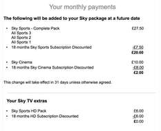 Sky Sports Complete Package HD + Sky Cinema for £22 p/m when signing up for 18 months (call in to get this deal, not online)