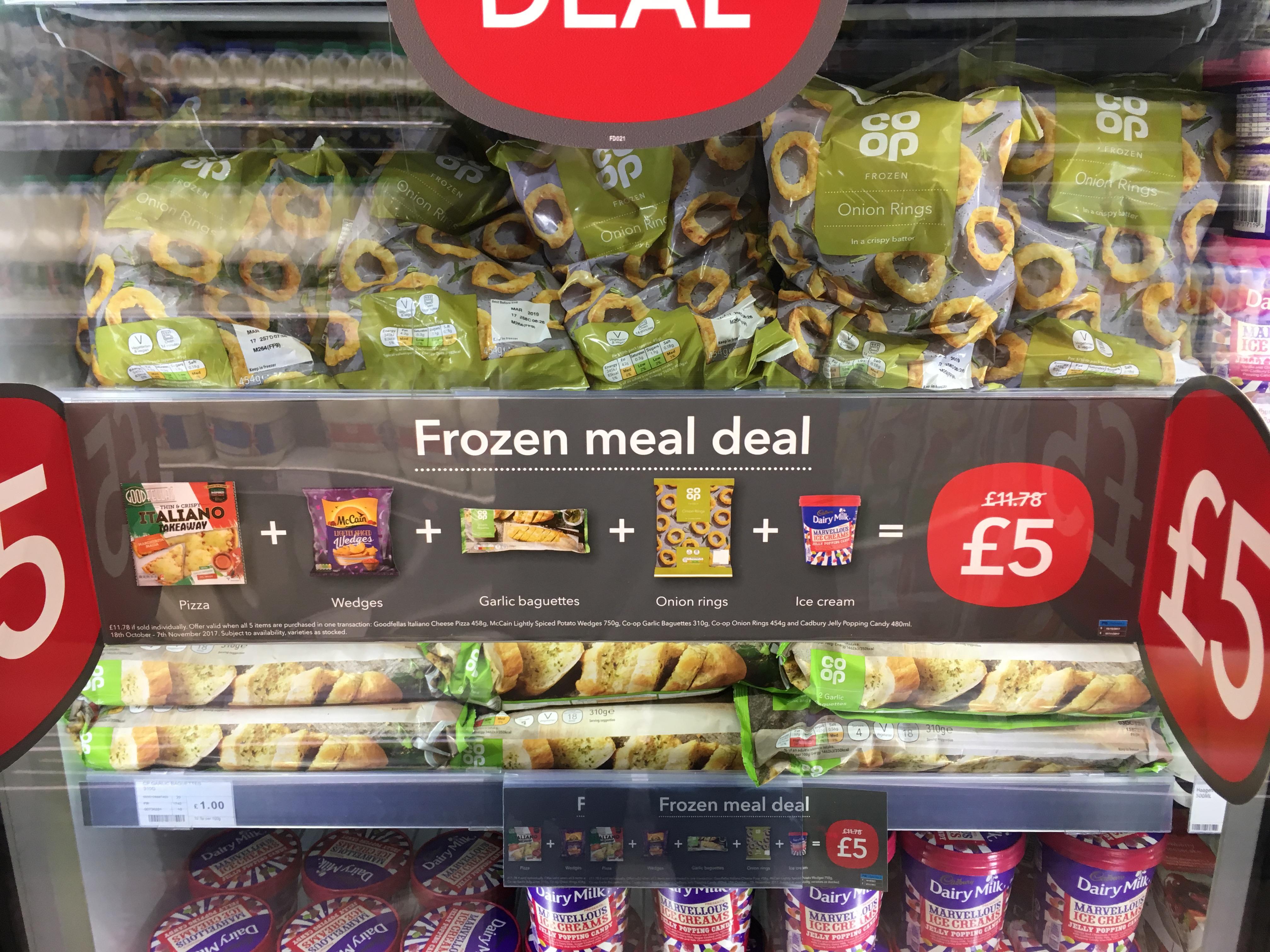 Coop frozen meal deal £5 instore