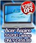 Acer Aspire 5520G 15.4-inch Laptop,AMD Turion 64 x2 TL62 Processor, Vista Home Premium, 4GB RAM, 250GB HDD with Blu Ray Combo Drive - now £461.98 @ CDiscount!