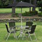 Textoline Dining Set ( steel tube and glass table, 4 folding steel chairs with textoline covers and a tilting steel umbrella) £50 instore @ Asda (also online with £4.95 delivery)