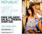 Free delivery on orders of £30 or more @ Republic - one week only!