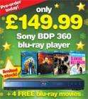 Sony BDP360 Blu-ray Player + 4 Films including Terminator Salvation + Angels and Demons £149.99 INSTORE + ONLINE @ Blockbuster