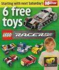 6 FREE LEGO cars with Daily Mirror starting saturday 20th March Redeem at Tescos Toysrus