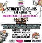 River Island Student 20% off everything Manchester and Newcastle Only