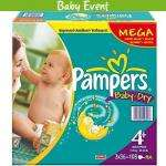 Pampers Mega Pack Midi Nappies Size 3 - 144 pack, Pampers Mega Nappies Size 4 - 120 pack, Pampers Mega Plus Nappies Size 4+ - 108 pack & Pampers Maxi Plus Junior Nappies Size 5 - 99 pack - All £12 @ Pack @ Asda