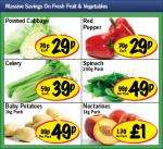 Lidl - Pointed Cabbage 29p/ Red Pepper 29p/ Celery 29p/ Spinach 250g 49p/ Baby Potatoes 1kg 49p/ Nectarines 1kg £1